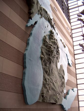 Michigan History Center : A giant relief map of Michigan featured in the Second Floor gallery space