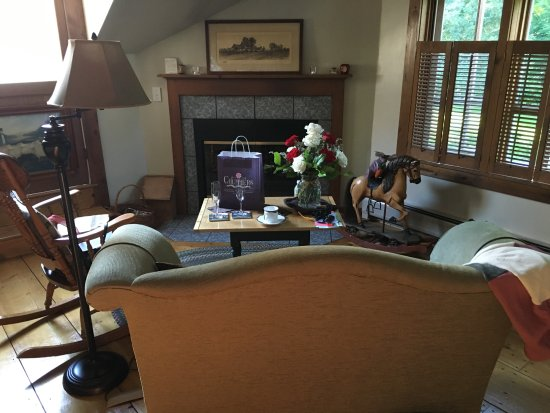 Rabbit Hill Inn: The sitting area with working gas fireplace!