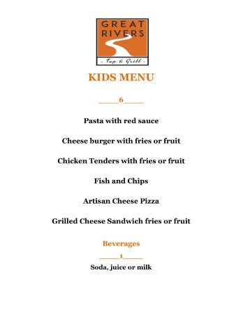 Alton, IL: Great Rivers Tap & Grill Kids Menu