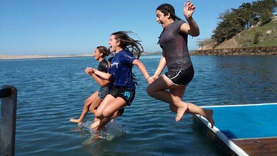 Morro Bay, كاليفورنيا: Taking a swim after our kayak tour