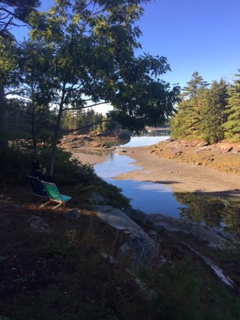 Mount Desert, เมน: a view of the inlet of Somes Sound at low tide