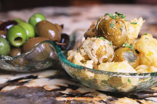 Tysons Corner, VA: Marinated and Pitted Olives with Crispy Banana Peppers and Gorgonzola Stuffed Olives