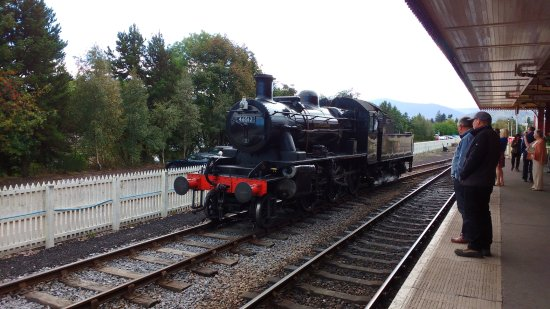 Aviemore, UK: A steam train preparing for the journey to Broomhill