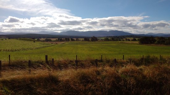 Эвимор, UK: A view of the Cairngorms from the Strathspey Railway