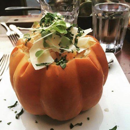 Montclair, NJ : Stuffed acorn squash with creamy butternut squash, shrimp, herbs and Parmesan cheese