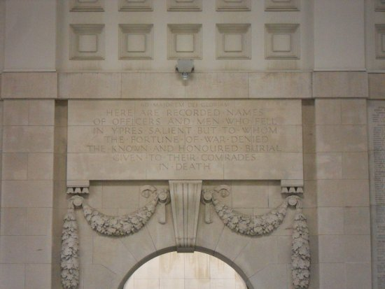 Ieper (Ypres), Belgium: The inscription for the Memorial. Incredibly touching