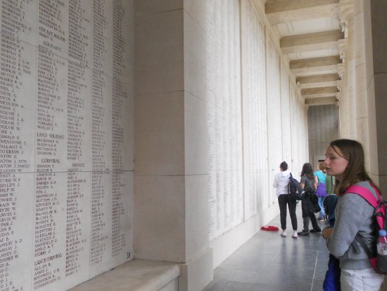 Ieper (Ypres), Belgium: Names on the upper balcony, up the stairs on the left side if entering from within the city cent