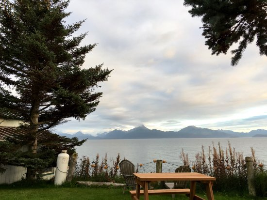 The Alaska Beach House: view from yard. Eagle's Nest is at left of photo
