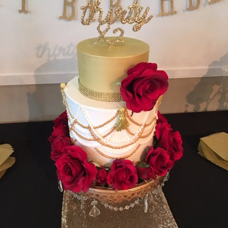 Frederick, MD: Beaded Tassel Cake with Marble, Hummingbird, and Chocolate flavored tiers