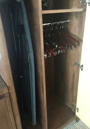 Oberlin, OH: The closet space is compact, but should really be taller for hanging women's dresses/coats.