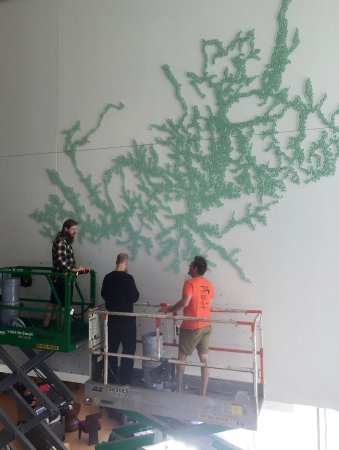 Oberlin, OH: This incredible Maya Lin piece is being installed bead by bead in the hotel lobby