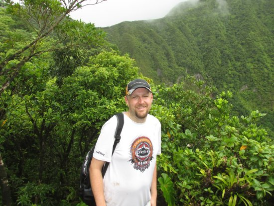 Basseterre, Saint Kitts: ON TOP - covered in sweat and rain. I loved it.