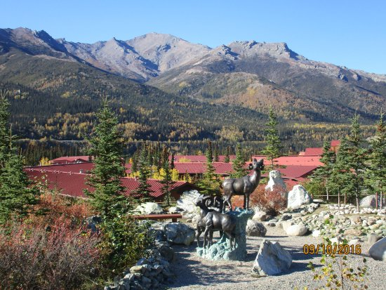 Denali Princess Wilderness Lodge building roofs from the rock garden