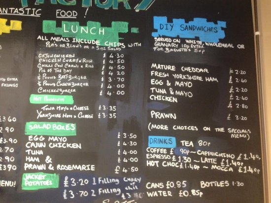 the food factory our varied menu
