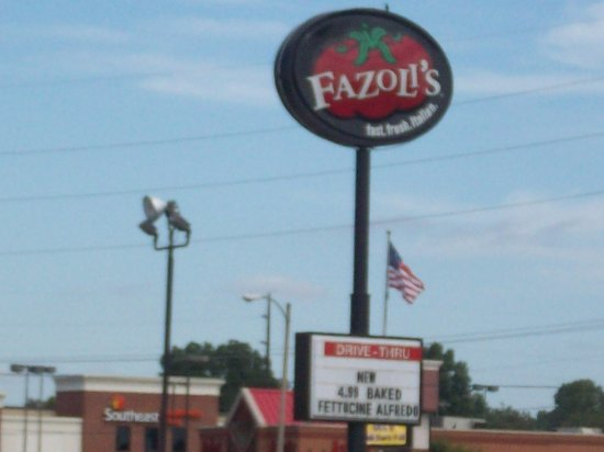 Signage for Fazoli's in Cape Girardeau, MO.