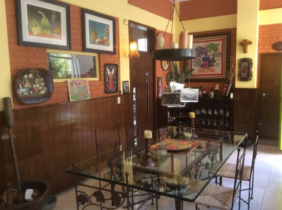 Casona Rosa: The Dining Room-next to the Bar-just outside the communal kitchen-and living room/library on lef