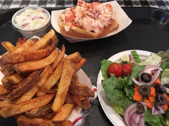 South Portland, ME: Lobster roll with salad and fries