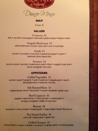 Dinner Menu  Picture Of The Elm Tree Restaurant Toronto  Tripadvisor