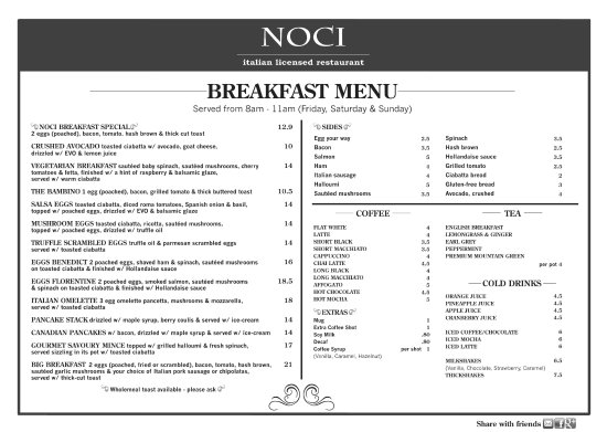 Cleveland, Australia: Breakfast Menu