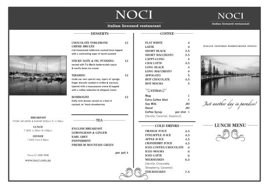 Noci Italiano Restaurant: Dessert & Drinks Menu