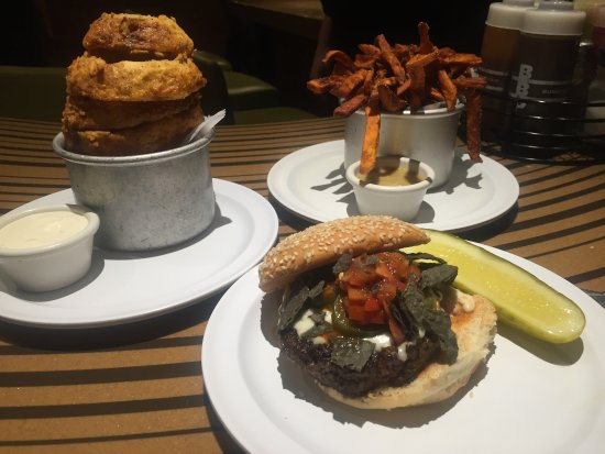 Bobby's Burger Palace: Nacho Burger with chips on top, onion rings and ...