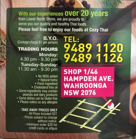 Wahroonga, Αυστραλία: Cozy Thai