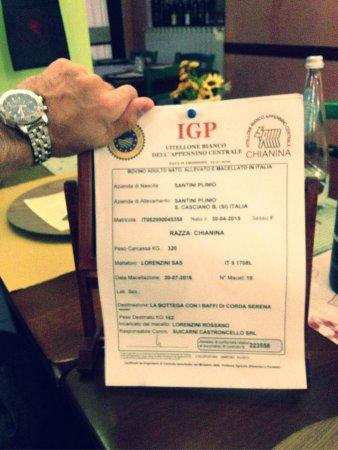 Foiano Della Chiana, Italia: Certificato di provenienza della carne