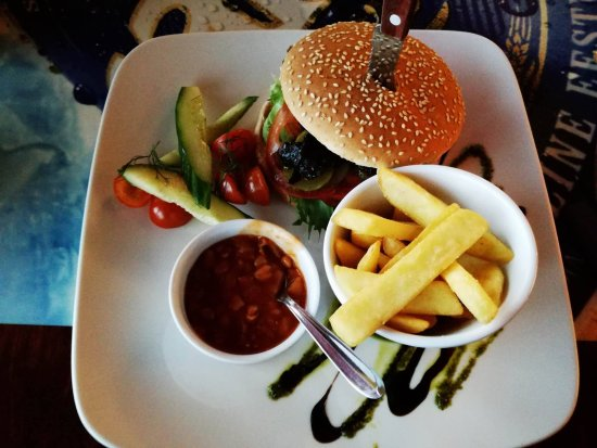 Rakvere, Estonia: Burger with fries