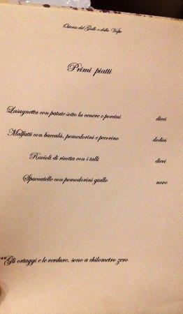 Ospedaletto d'Alpinolo, Italia: Menù alla carta primi piatti