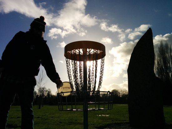 Stretford, UK: Sunset over our very own Stone Circle Disc Golf Hole.
