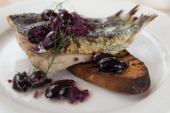 Mousehole, UK: Cornish Sardines Grilled, Sourdough Toast, Olive Dressing