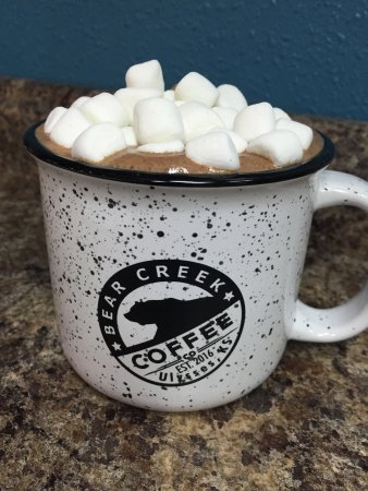 Ulysses, KS: Our excellent Hot Chocolate in a Bear Creek mug.
