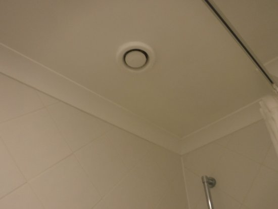 Bay Marine Hotel: This tiny vent in the ceiling was the only ventilation in the bathroom. It was inadequate.