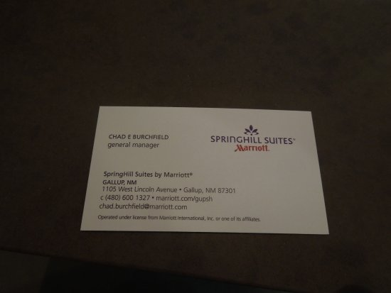 Manager S Business Card Picture Of Springhill Suites