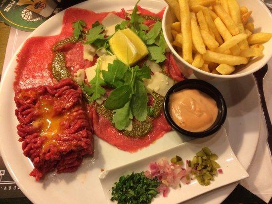 Roncq, ฝรั่งเศส: Duo de bœuf excellent. Salade césar pas fraiche.