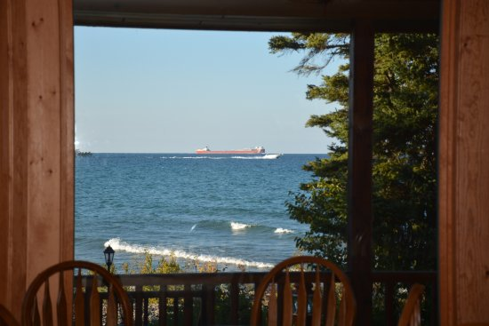 Cheboygan, MI: Lake Huron and freighter