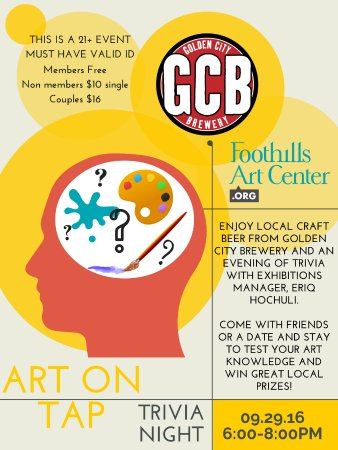 Golden, Kolorado: One of the many great events we have at FAC, Art on Tap! Come drink beer, look at art, & win pri
