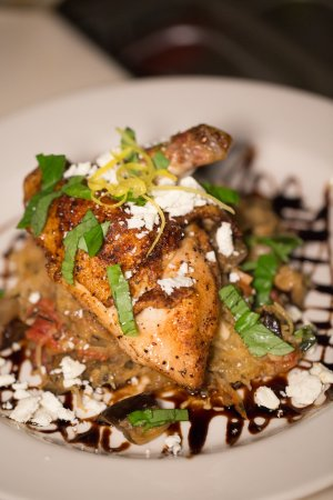 Cary, Carolina do Norte: Pan roasted Airline Chicken over spghetti squash & eggplant