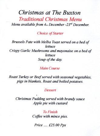 Traditional Christmas Menu - Picture of The Buxton, Hyde - TripAdvisor