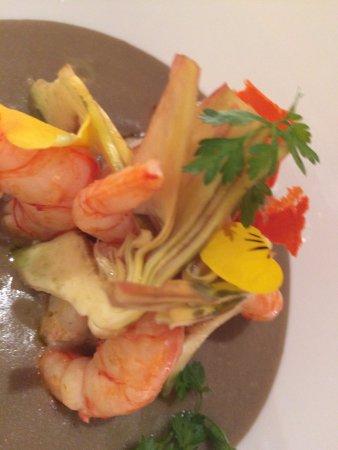 Priocca, Italia: Shrimp and artichokes