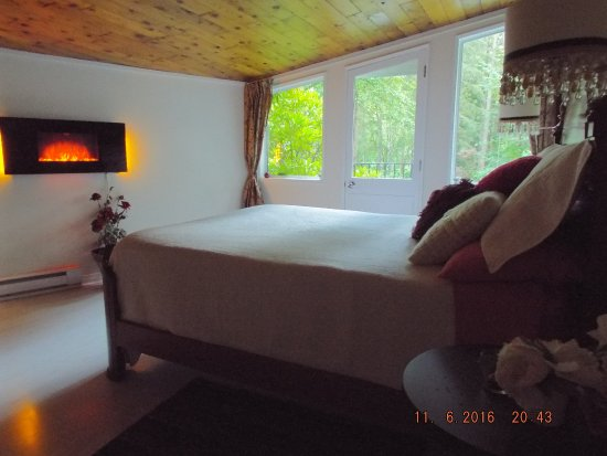 Maple Ridge, Canadá: Queen bed with full view windows, FP, Juliette balcony with screened door.