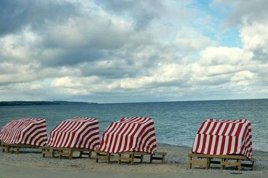 Petoskey, MI: These wonderful covered lounge chairs are as comfortable as they are quaint.