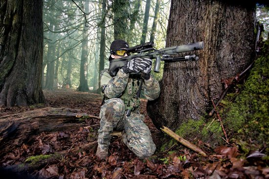 Surrey, Canada: Airsoft player in Panther Airsoft Event!