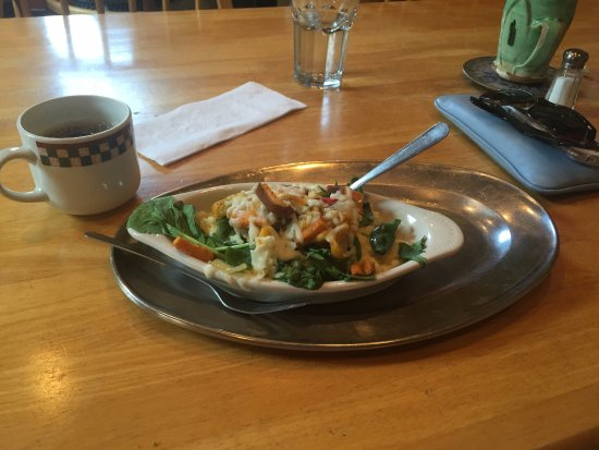 Athens, GA: Grit Boat-- spinach with cheese and roasted veggies