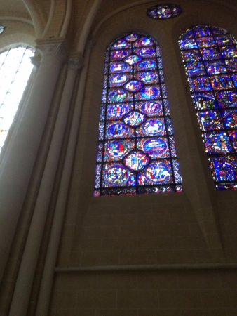 one of many stained glass windows in Chartres Cathedral