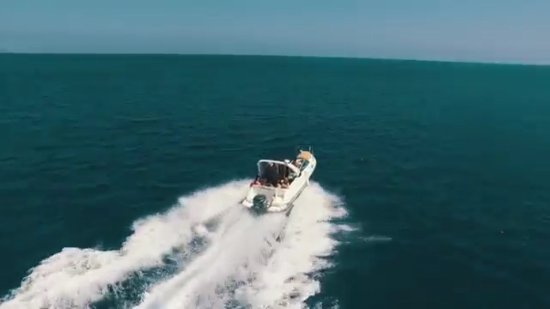 Latchi, Cyprus: Another drone shot of the boat as we power on