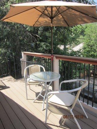 Best Kept Secret B & B: The upper deck is a great place to enjoy a sandwich or a glass of wine.