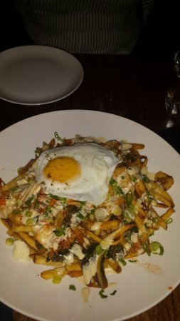 Guelph, Canada: Duck confit waffles pizza and kimchu fries