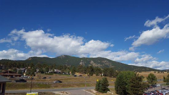 Evergreen, CO: View from patio of Elk Meadow and Bergen Peak