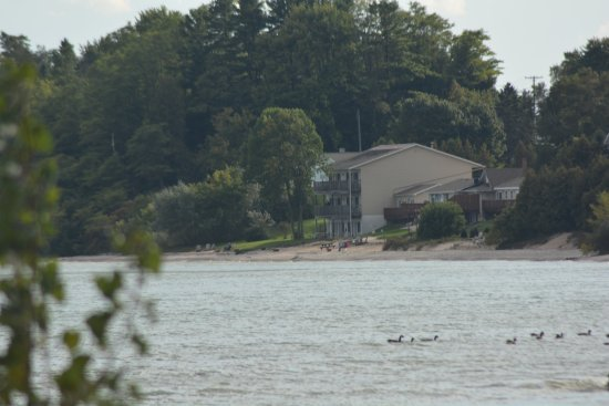 Algoma, WI: A view of the back of the motel from across the water